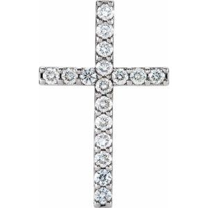 Platinum 2.5 mm Round 17-Stone Cross Pendant Mounting