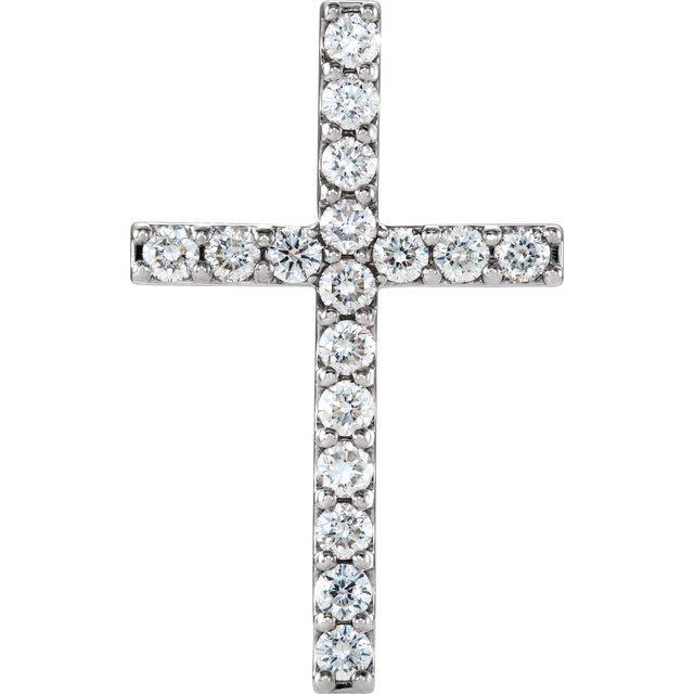 14K White 1 CTW Petite Diamond Cross Pendant
