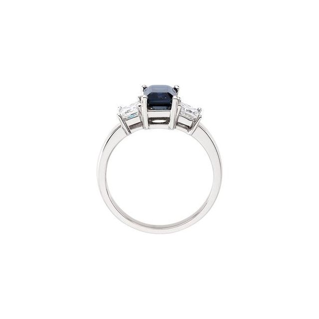 Blue Sapphire & Diamond Accented Ring