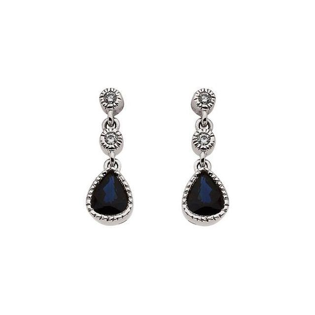 14K White Blue Sapphire & .05 CTW Diamond Earrings