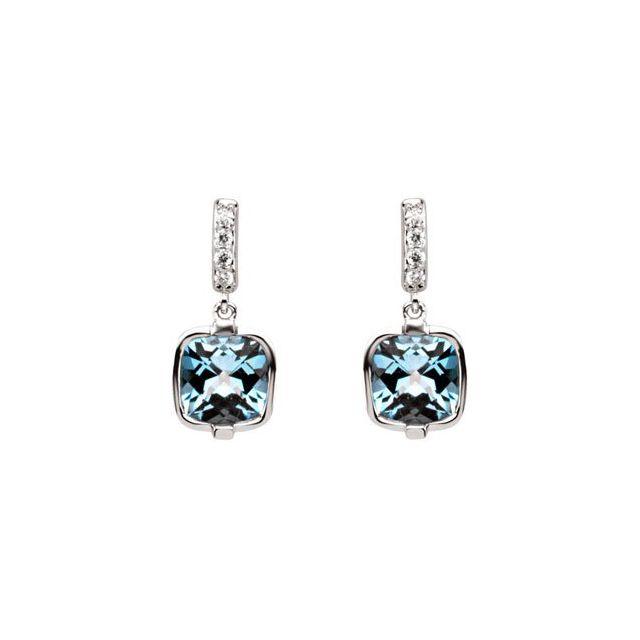 Swiss Blue Topaz & Diamond Earrings