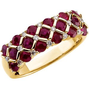 14K Yellow Ruby & 1/6 CTW Diamond Ring