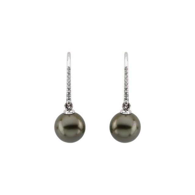 14K White Tahitian Cultured Pearls & 1/8 CTW Diamond Earrings