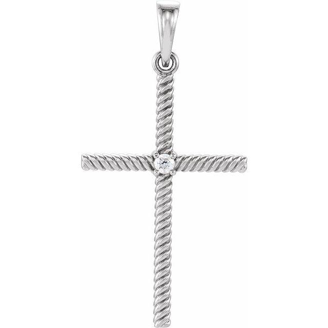14K White .03 CTW Diamond 31.95x16.3 mm Rope Design Cross Pendant