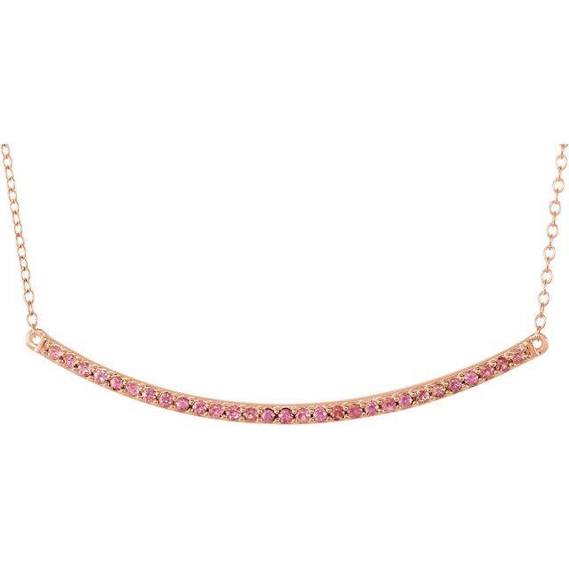 14K Rose Pink Sapphire Bar 16-18