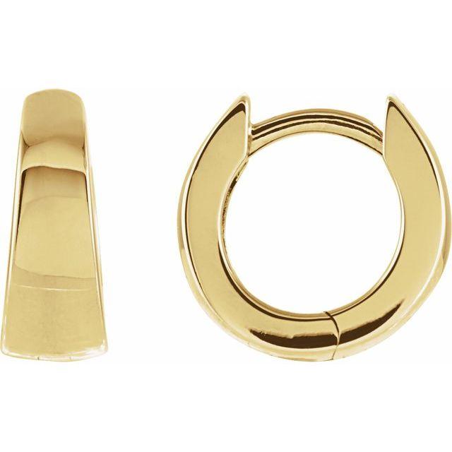 14K Yellow 10.25 mm Tapered Huggie Earrings