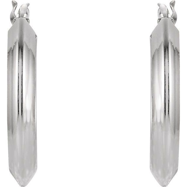 Sterling Silver 15 mm Knife-Edge Hoop Earrings