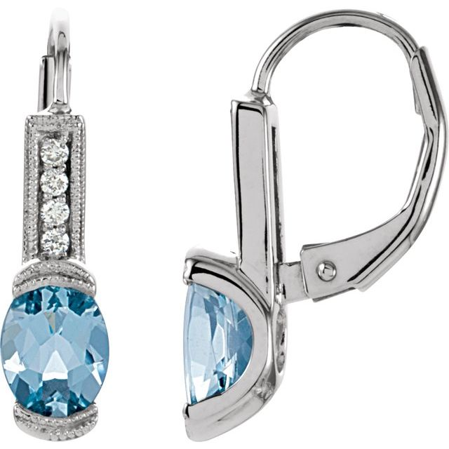 14K White Aquamarine & .08 CTW Diamond Earrings