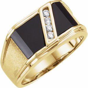 14K Yellow Onyx & 1/8 CTW Diamond Bezel-Set Ring