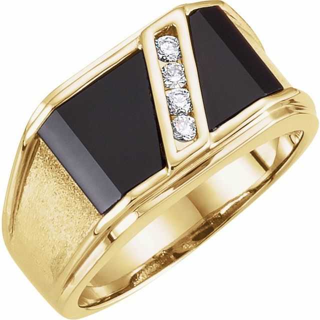 14K Yellow Natural Black Onyx & 1/8 CTW Natural Diamond Bezel-Set Men-s Ring