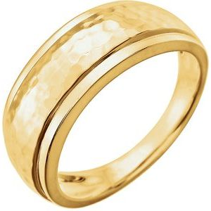 14K Yellow Hammered Ring with Beveled Edges