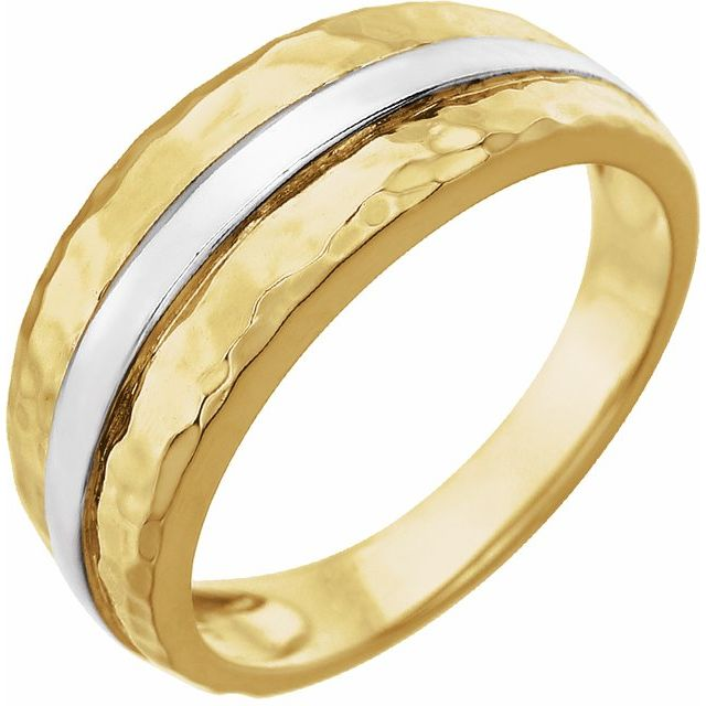14K Yellow & White Banded Hammered Ring