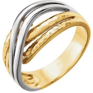 14K Yellow Overlap Hammered Ring