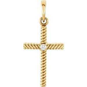 14K Yellow .02 CTW Diamond 24.25x11.35 mm Rope Design Cross Pendant