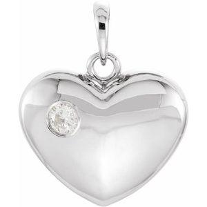 14K White 1/10 CT Diamond 20.15x16 mm Heart Pendant
