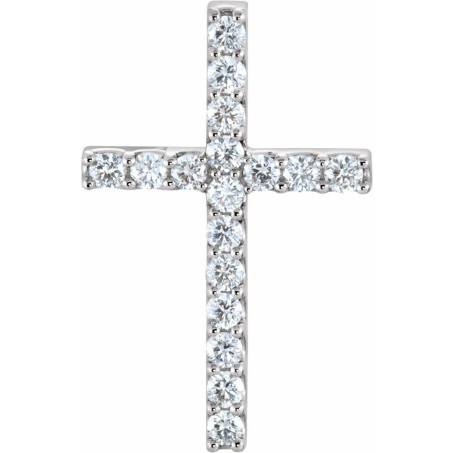 14K White 5/8 CTW Petite Diamond Cross Pendant
