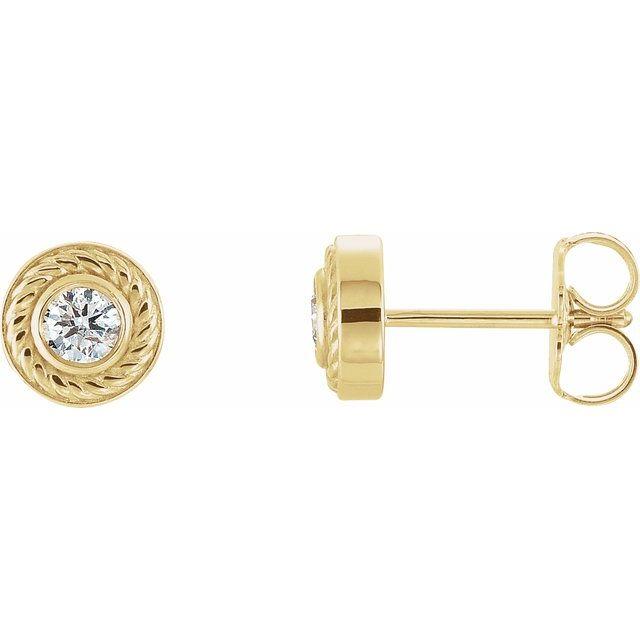 14K Yellow 1/5 CTW Diamond Rope Earrings with Backs