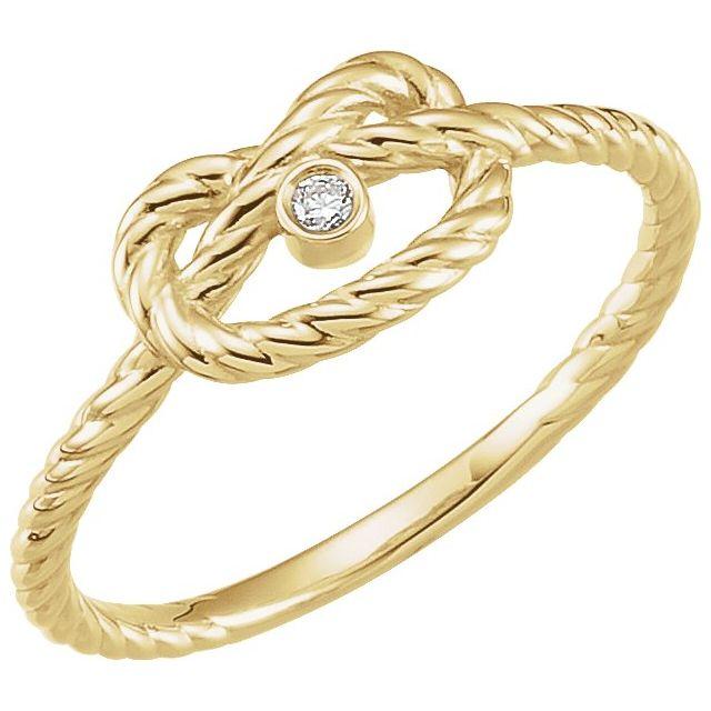 14K Yellow .025 CTW Diamond Rope Knot Ring Size 7