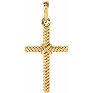 14K Yellow 17.5x11.3 mm Rope Cross Pendant