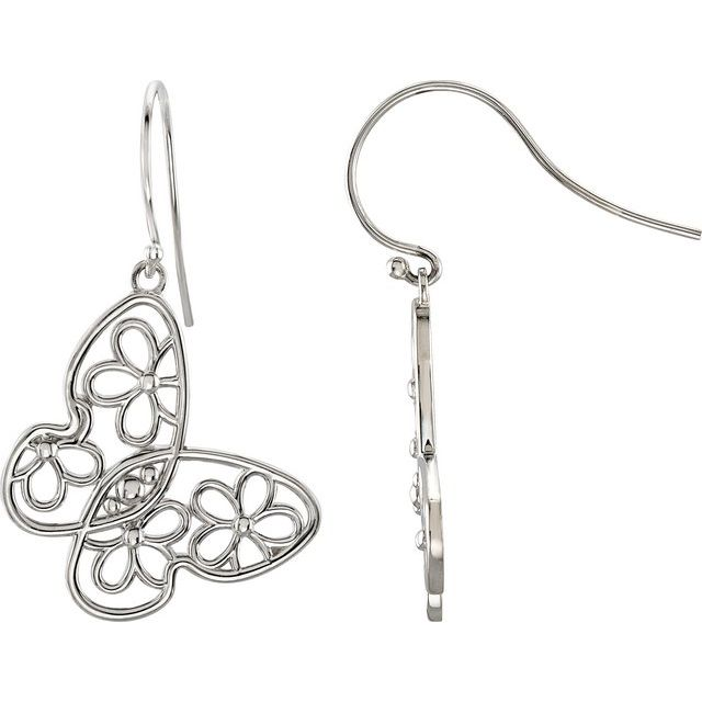 Sterling Silver Floral-Inspired Left Earring