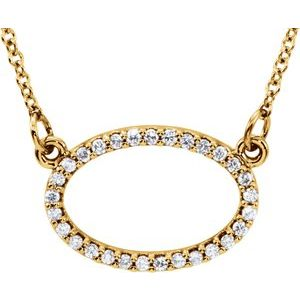 "14K Yellow 1/8 CTW Diamond Horizontal Oval 16"" Necklace"
