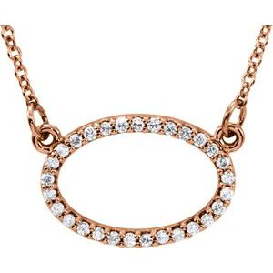 "14K Rose 1/8 CTW Diamond Horizontal Oval 16"" Necklace"