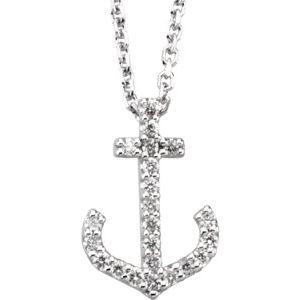 "14K White .08 CTW Diamond Anchor 16"" Necklace"