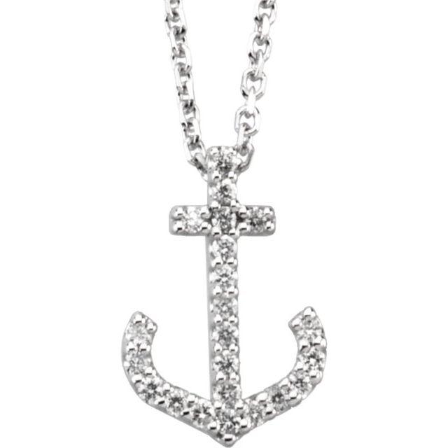 14K White .08 CTW Diamond Anchor 16