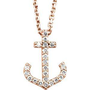 "14K Rose .08 CTW Diamond Anchor 16"" Necklace"