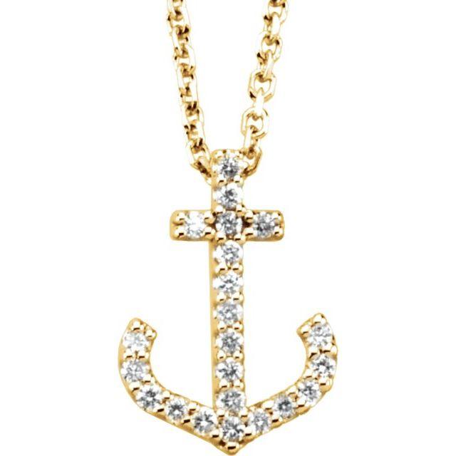 14K Yellow .08 CTW Diamond Anchor 16