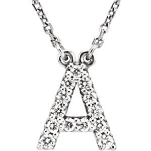 "14K White Initial A 1/8 CTW Diamond 16"" Necklace"