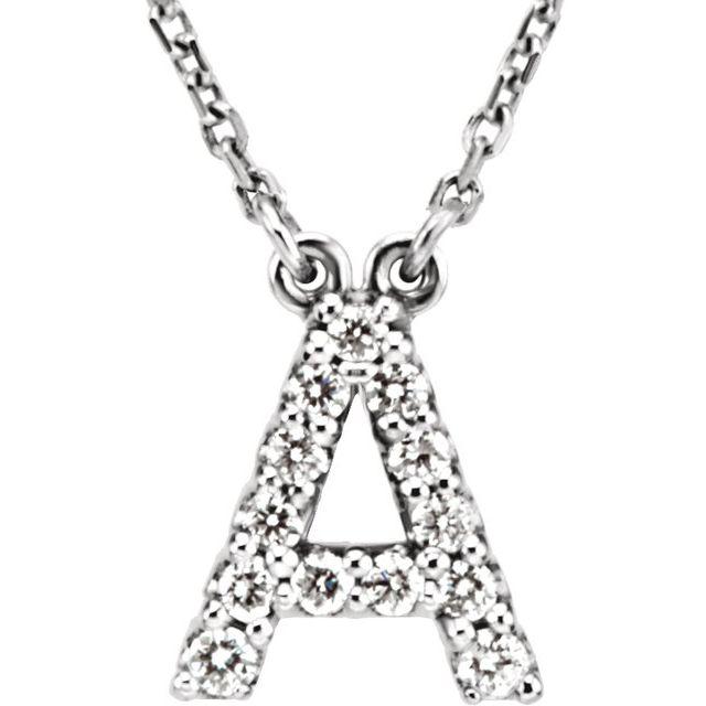 14K White Initial A 1/8 CTW Diamond 16