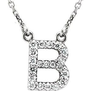 "14K White Initial B 1/8 CTW Diamond 16"" Necklace"