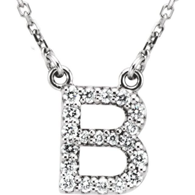 14K White Initial B 1/8 CTW Diamond 16