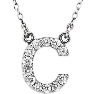 "14K White Initial C 1/8 CTW Diamond 16"" Necklace"