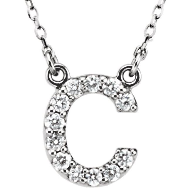 14K White Initial C 1/8 CTW Diamond 16