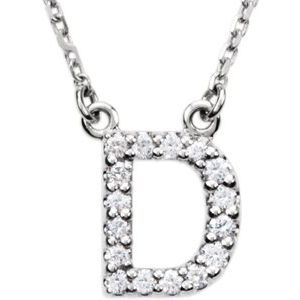 "14K White Initial D 1/8 CTW Diamond 16"" Necklace"