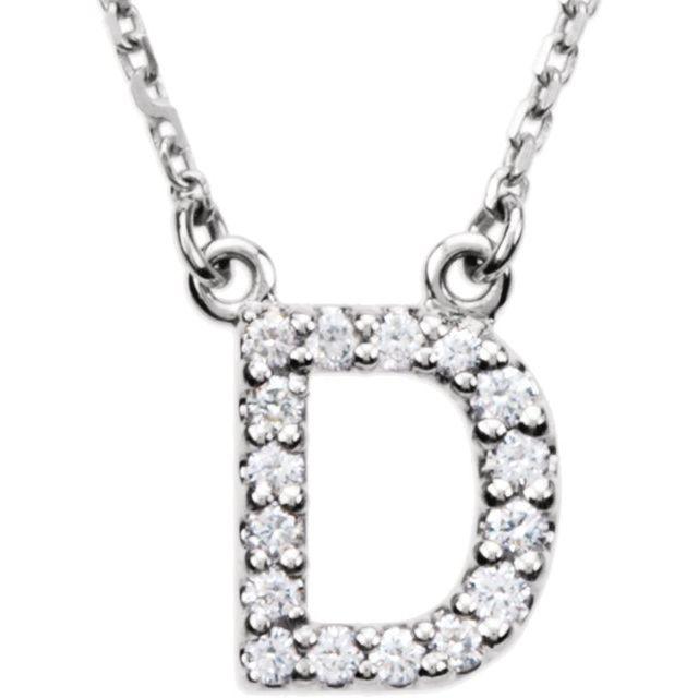14K White Initial D 1/8 CTW Diamond 16