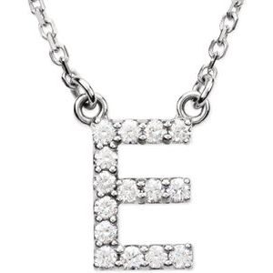 "14K White Initial E 1/8 CTW Diamond 16"" Necklace"