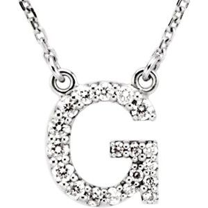 "14K White Initial G 1/8 CTW Diamond 16"" Necklace"