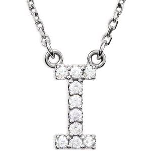 "14K White Initial I .08 CTW Diamond 16"" Necklace"