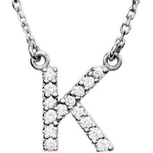 "14K White Initial K 1/8 CTW Diamond 16"" Necklace"