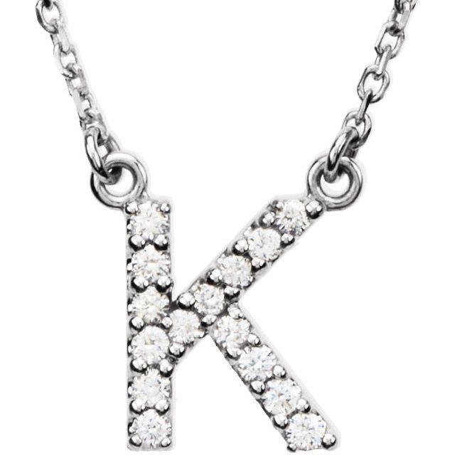 14K White Initial K 1/8 CTW Diamond 16
