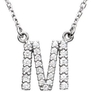 "14K White Initial M 1/6 CTW Diamond 16"" Necklace"