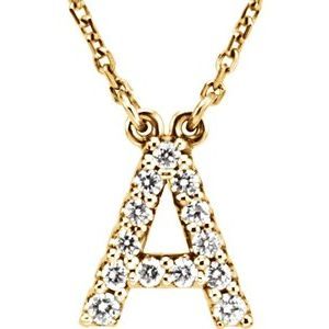 "14K Yellow Initial A 1/6 CTW Diamond 16"" Necklace"