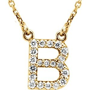 "14K Yellow Initial B 1/8 CTW Diamond 16"" Necklace"