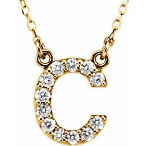 "14K Yellow Initial C 1/8 CTW Diamond 16"" Necklace"