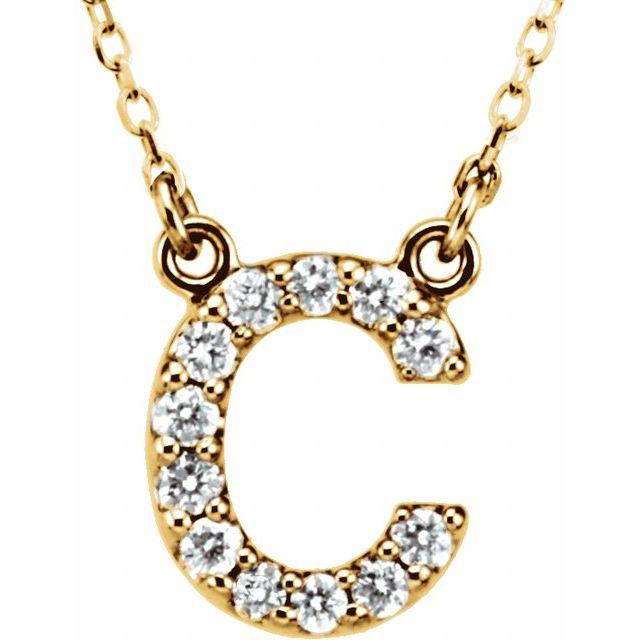 14K Yellow Initial C 1/8 CTW Diamond 16
