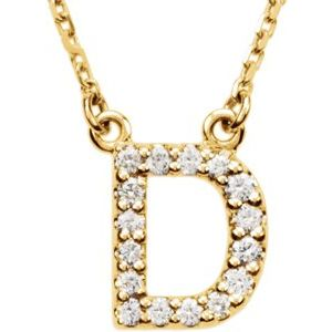 "14K Yellow Initial D 1/8 CTW Diamond 16"" Necklace"