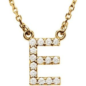 "14K Yellow Initial E 1/8 CTW Diamond 16"" Necklace"